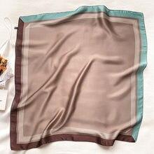 Espanha moda 70*70cm quadrado feminino adorável simples lenço de seda xale senhora do escritório cabelo pescoço bandana foulards capa muçulmana