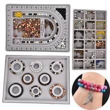 Flocked grânulo placa frisado jóias fazendo ferramenta de medição diy pulseira colar acessórios encontrar organizador bandeja artesanato ferramenta