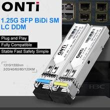 ONTi 1Pair Gigabit SFP Module  SM LC 3/20/40/80KM 1.25G Bidi Single Mode Fiber Optical Transceiver Compatible with Cisco Switch
