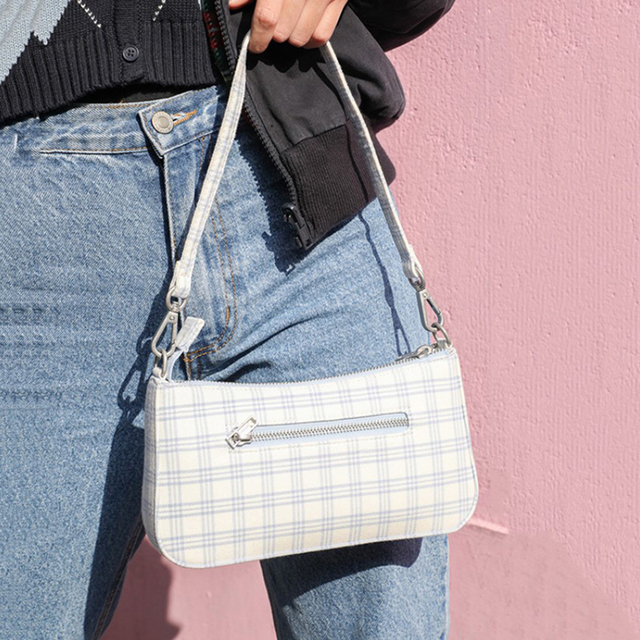 Nouveau femme vintage bleu check baggie polyvalent mode sous les bras sac littéraire frais petit sac à bandoulière