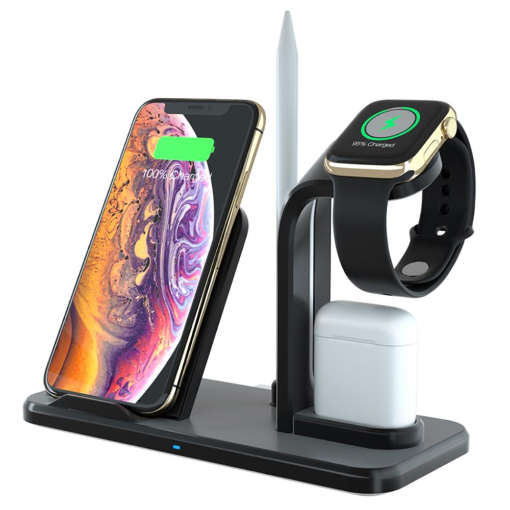 Tidy 15W Wireless Charger Dock Dual Multi Desktop Fast Charging Docking Station For iPhone X XS XR 8 Apple Watch Charger Dock