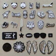 Patchs de broderie pentagramme noir et blanc pour veste, bandes de transfert, autocollants de vêtements, Badges d'aile