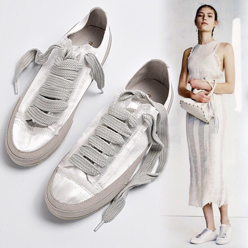 Women Flats Satin Silk Sneakers Fashion Distressed Shoes Vintage Loafers Spring Summer Casual Shoes Lace Up Flats Moccasins C-45