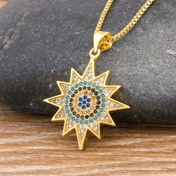 2020 Hot Sale Copper Zirconia Sun Pendant Necklaces For Women Girls Fashion Jewelry Choker Best Party New Year Christmas Gift