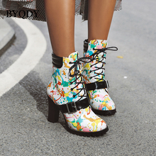 BYQDY Retro Graffiti Prints Boots PU Leather High Heels Prom Dancing Shoes Woman Warm Buckle Chelsea Ankle Short Plus Size 48