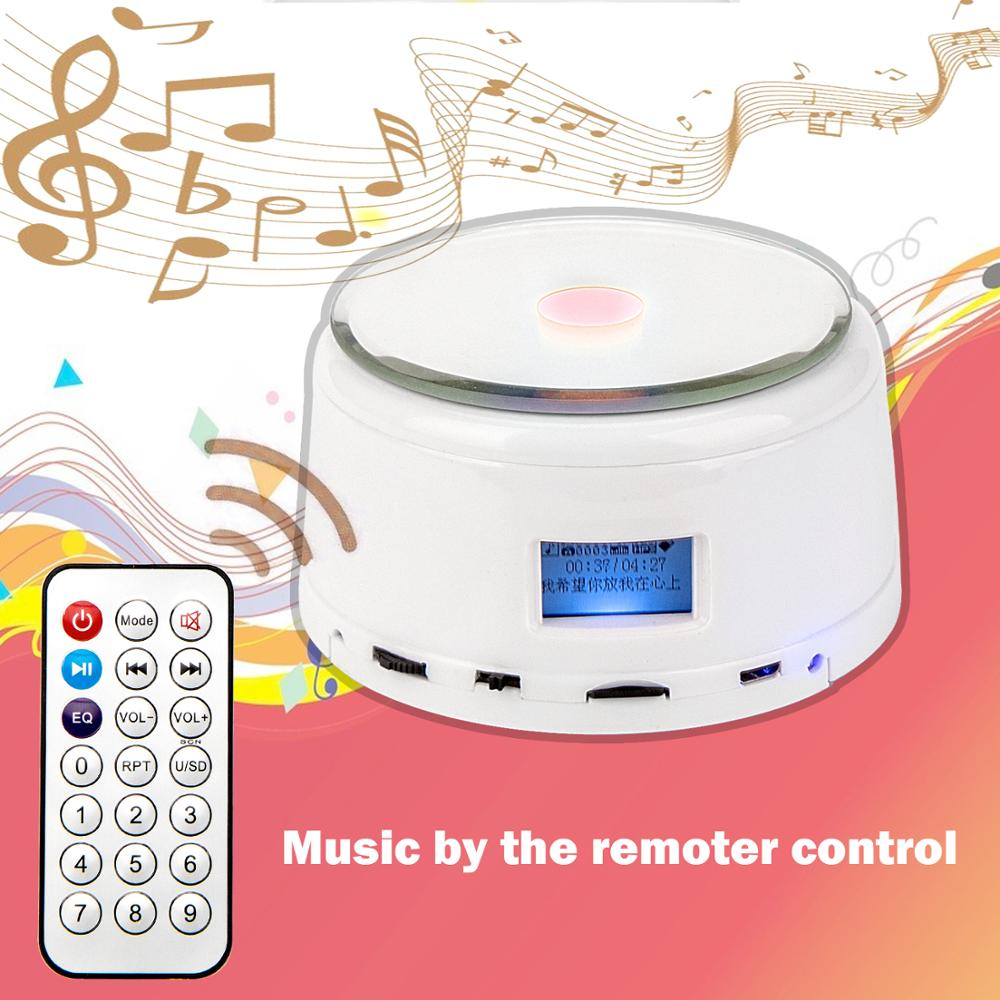 Rechargeable Rotating Crystal Jewelry Display Stand Base Full Color Dimmable Music Box Automatic Play TF Card Music Speaker
