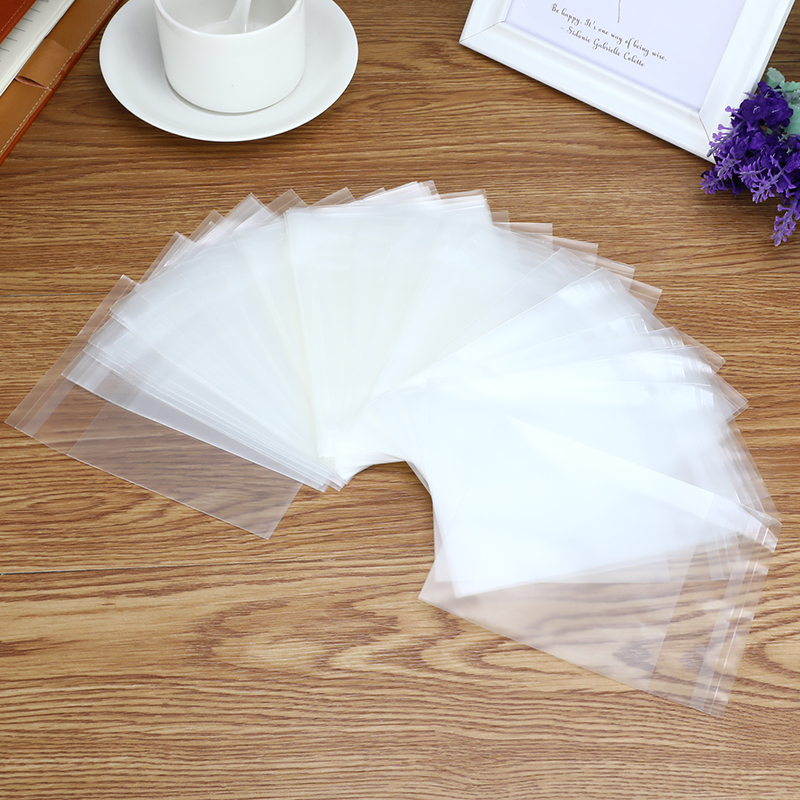 100PCS/Lot Frosted Transparent Plastic Envelopes Multi-size Cookie Dessert Bags Self-adhesive Envelope Bag Office School Supply
