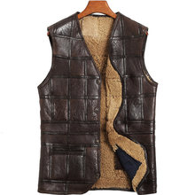 Genuine Leather Vest Men 100%Wool Fur Liner Short Coat Winter Jacket Sheepskin Vests Plus Size Chalecos Para Hombre 802 MY1574(China)