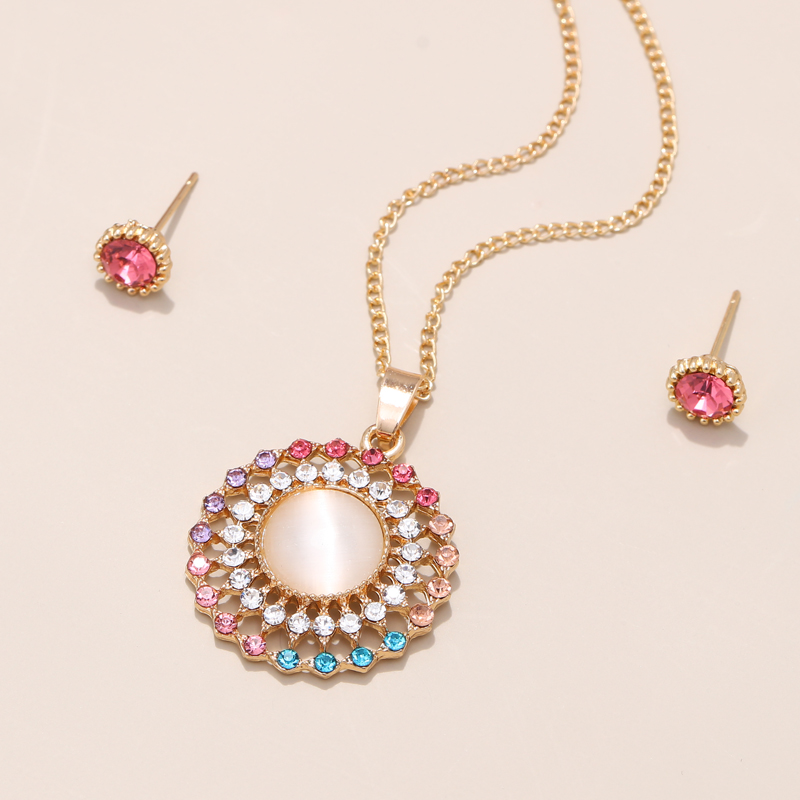 Exquisite Gold Color Bridal Jewelry Sets Bling Austrian Crystal Opal Stone Pendant Necklaces Earrings Wedding Accessory Gifts 2