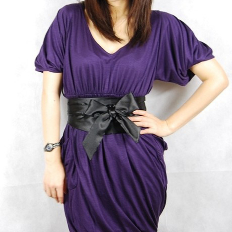 Silk Ribbon Belts Pure Color Dress Decoration Elegant Lady Bow Knot Slimming Belt Wide Waistband Corset Tie Belt