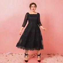 Linha a mais tamanho preto vestido de festa cocktail vestido colher pescoço 3/4 comprimento manga chá comprimento renda cetim tule 2021