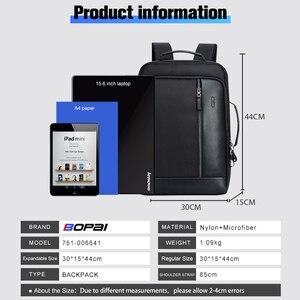 Image 3 - BOPAI Men Black Leather Backpack USB Charge Bagpack School Bags Hidden Pocket Anti Theft Backpack Men Laptop Backpack sac a dos