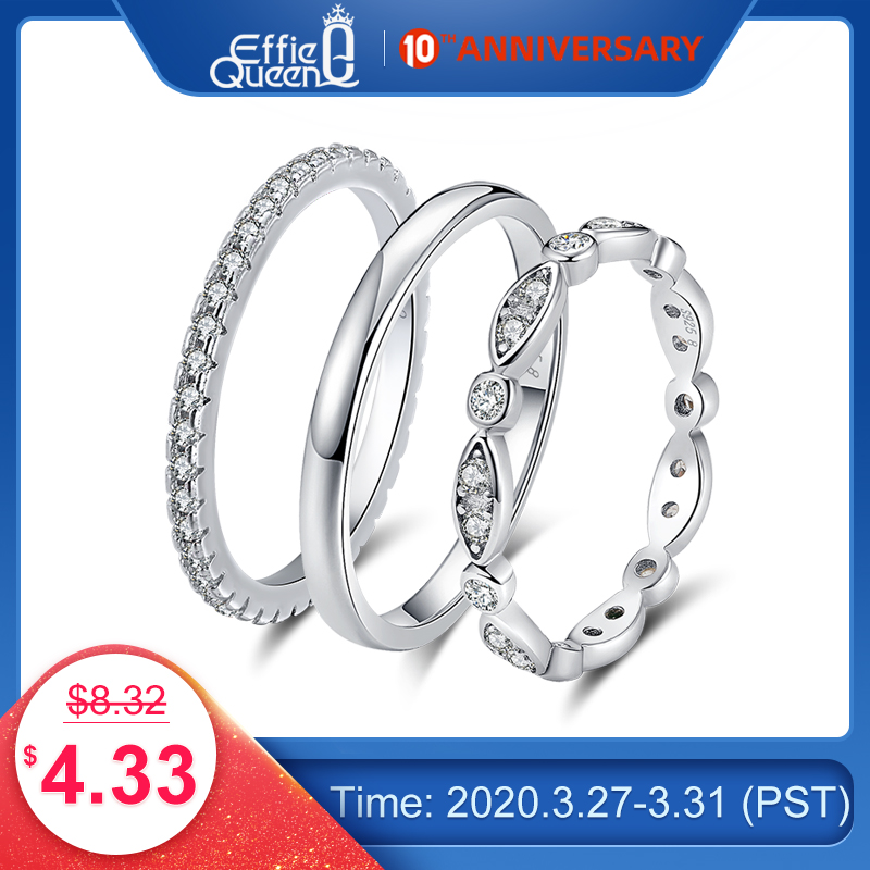 Effie Queen Genuine 925 Sterling Silver Ring For Men Women Couple Rings Wedding Band Female Finger Ring Wholesale Jewelry BR74