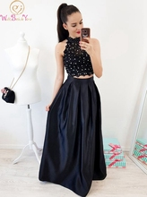 Black Pearls Beading Two Pieces Lace Evening Dresses 2019 New Elegant Halter Neck Formal Party Long reflective Satin Prom Gowns