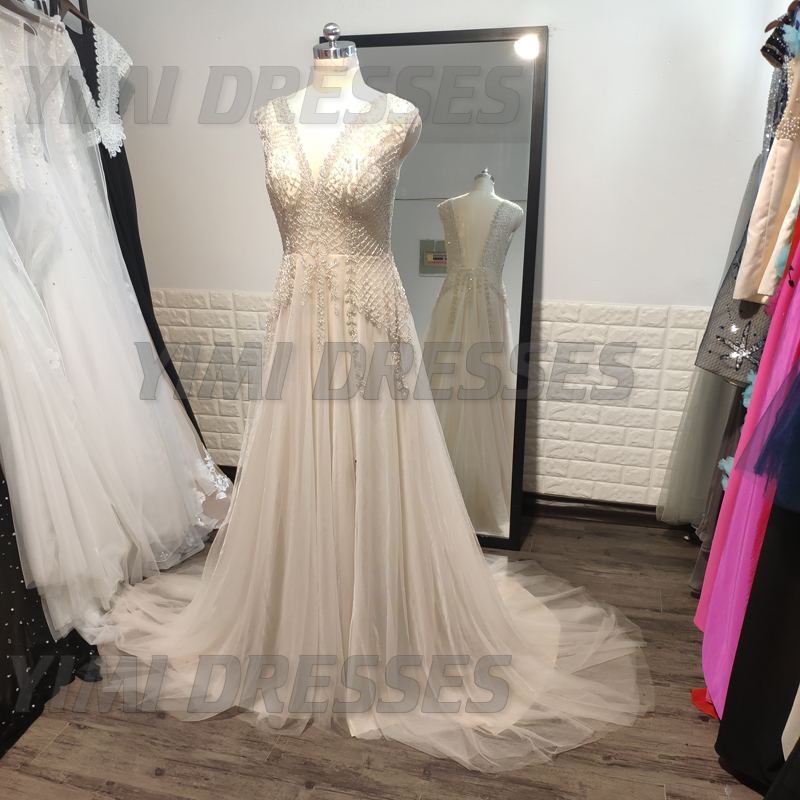 Image 4 - Beaded Long Prom Dresses 2019 Luxury Vestidos De Gala Sexy Backless V neck Tulle Party Formal Gowns Evening Party For Women-in Prom Dresses from Weddings & Events