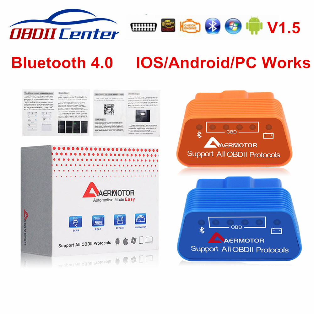AERMOTOR Bluetooth 4.0 ELM327 1.5 Auto Diagnostics Scanner ELM 327 OBDII V1.5 IOS Android Interface For OBD II Protocol Car