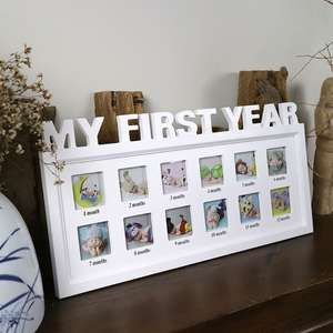 Souvenirs Memory Photo-Frame My-First-Year Pictures Gift-Display Plastic Kids 0-12-Month