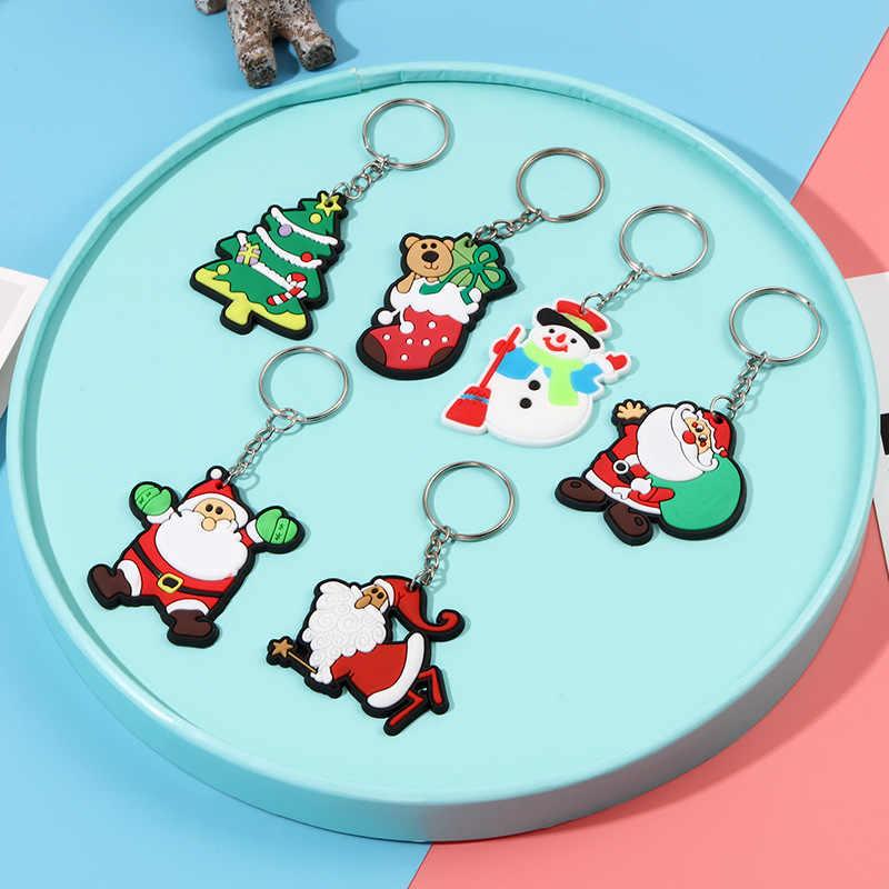 Anime Bonito Silicone Animais Keychain Bolsa Charme Chave Do Presente do Anel Chave de Cadeia para As Mulheres Jóias Pingente Chave Encantos de Natal DO PVC