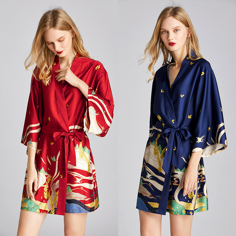 New Style Spring And Summer Pajamas Women 's Silk Robe Bathrobe Morning Gowns Dunhuang Mural Printed Tracksuit 1605