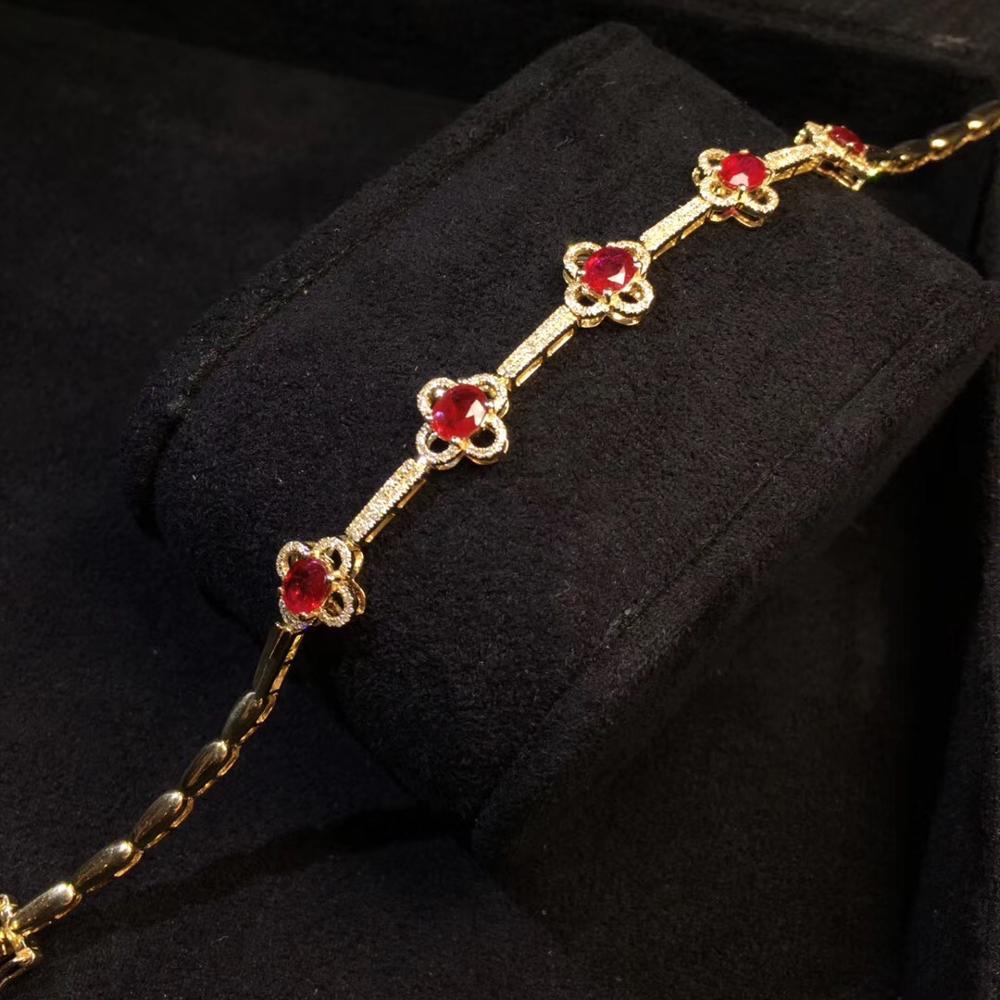 Bijoux fins véritable or jaune 18K pierres précieuses rubis rouge naturel 2.1ct diamants amour bijoux bracelets pour femme Bracelet fin