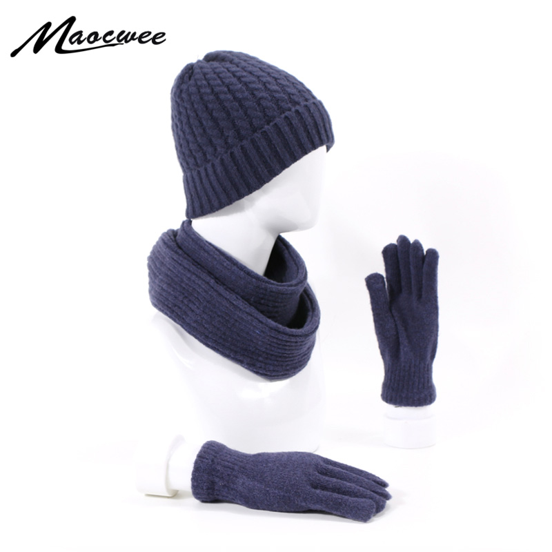 3Pcs Winter Skullies Beanie Hat Scarf Gloves Set For Men And Women Outdoor Warm Thick Beanies Cap With Lining Scarf Gloves Sets