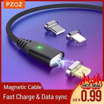 Pzoz magnetic usb c cabel Snelle Opladen lightning cable Micro Usb c cabel Magneet usb c charger micro usb cable Draad Voor Iphone 12 pro max mini 11 6 7 8 plus X Xs Xr Xiaomi mi 10 pro max Redmi note 7 8 9s k30 pro tanie i dobre opinie Rohs TYPE-C CN (pochodzenie) USB A Magnetyczne Ze wskaźnikiem LED Z C94 Magnetic Cable Type C Micro USB lightning cable