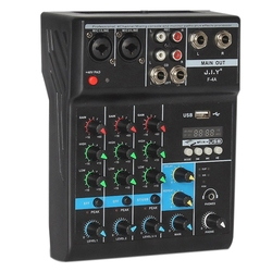 Professional 4 Channel Bluetooth Mixer o Mixing DJ Console with Reverb Effect for Home Karaoke USB Live Stage KTV