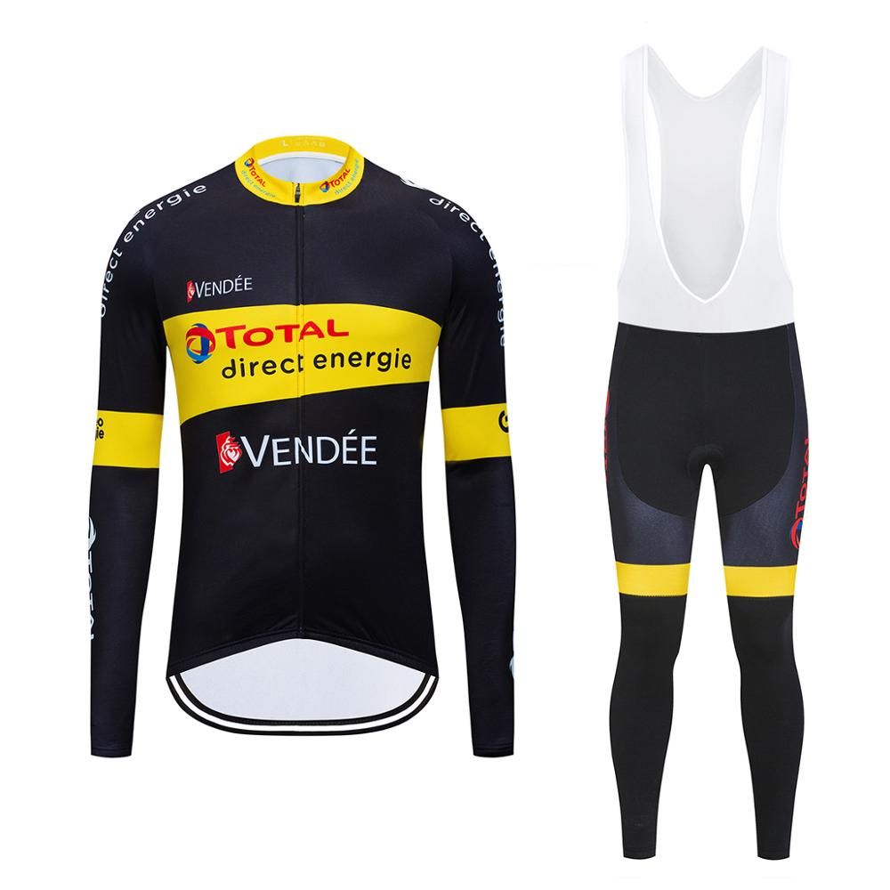 Autumn 2020 TEAM Direct Energie Long Sleeve Cycling Jersey Sets 12D Pads <font><b>Bike</b></font> Pants Suit Mens Thermal Fleece Pro Bicycling <font><b>Wear</b></font> image