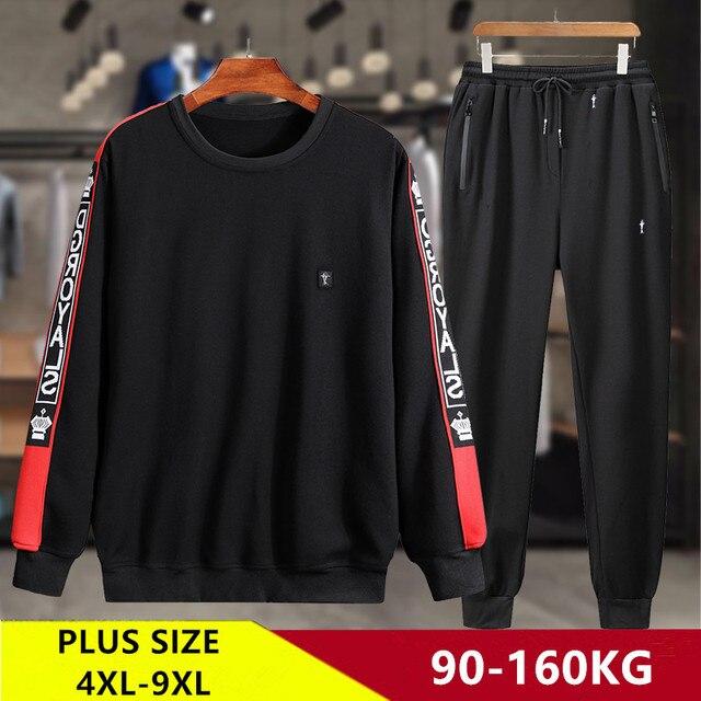 Eşofman erkekler artı boyutu 6XL 7XL 8XL 9XL 2 parça eşofman giysileri erkek spor takımları seti kazak ceket Mens ter parça takım elbise