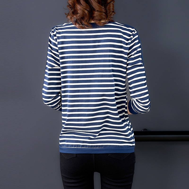 Женские свободные хлопковые футболки в полоску с длинным рукавом