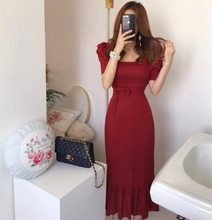 Spot Korean temperament of restoring ancient ways party led package show thin cotton collect waist hip falbala fishtail dress(China)