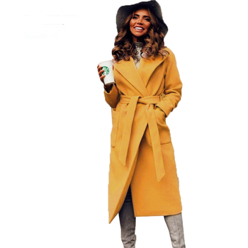 MVGIRLRU elegant Long Women's coat lapel 2 pockets belted Jackets solid color coats Female Outerwear 6
