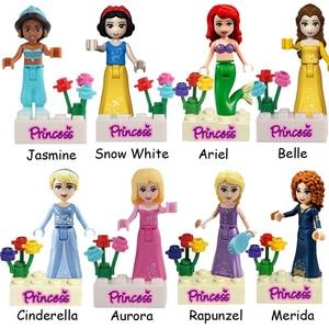 8Sets Girl Friend Princess Fairy Tale Anna Elsa White Snow Model Figure Blocks Construction Building Bricks Toys For Children