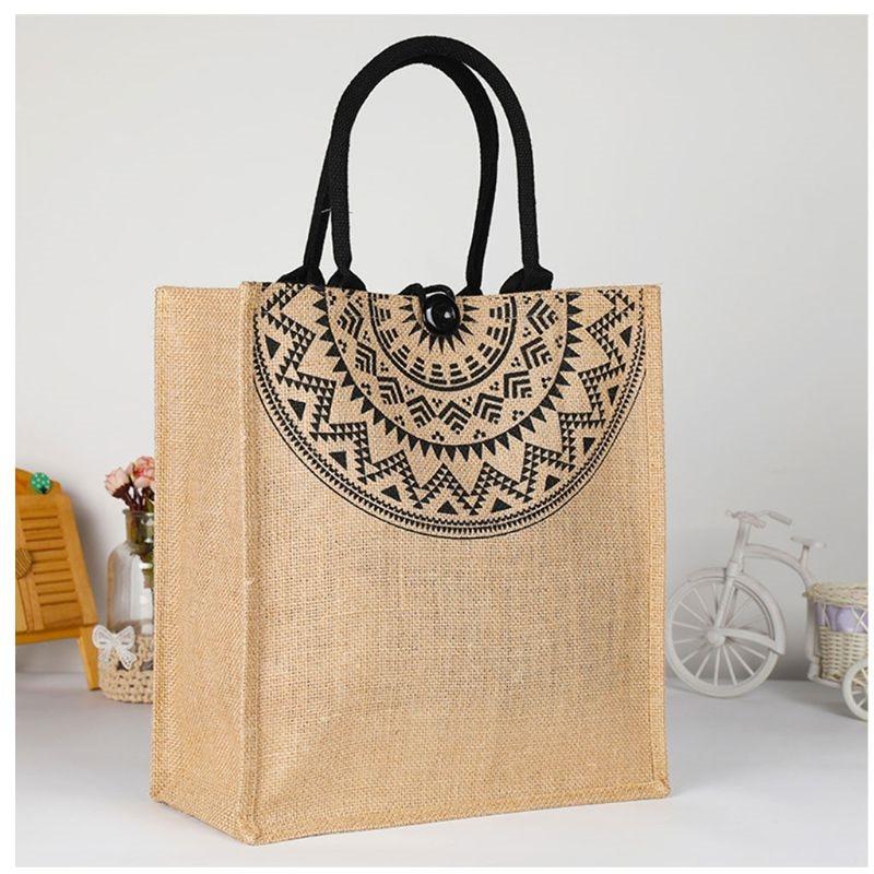 2019 Fashion Women's Ladies Linen Tote Beach Satchel School Bags Luxury Female Shopping Bags Foldable Tote Bag