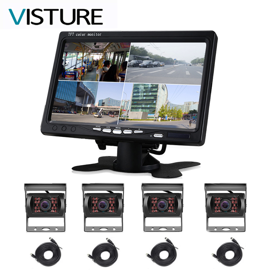 Truck Monitor 4 Channel Camera System Rearview Cam 7 inch Display For Caravan Trailers Car Bus Parking 360 Rear View Visture D15