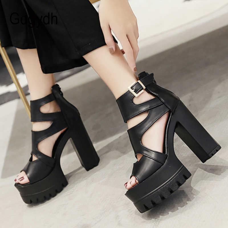 Gdgydh açık ayak gladyatör sandalet kadın platformu yüksek topuklu ayakkabı parti Vintage gotik siyah deri moda toka sıcak satış