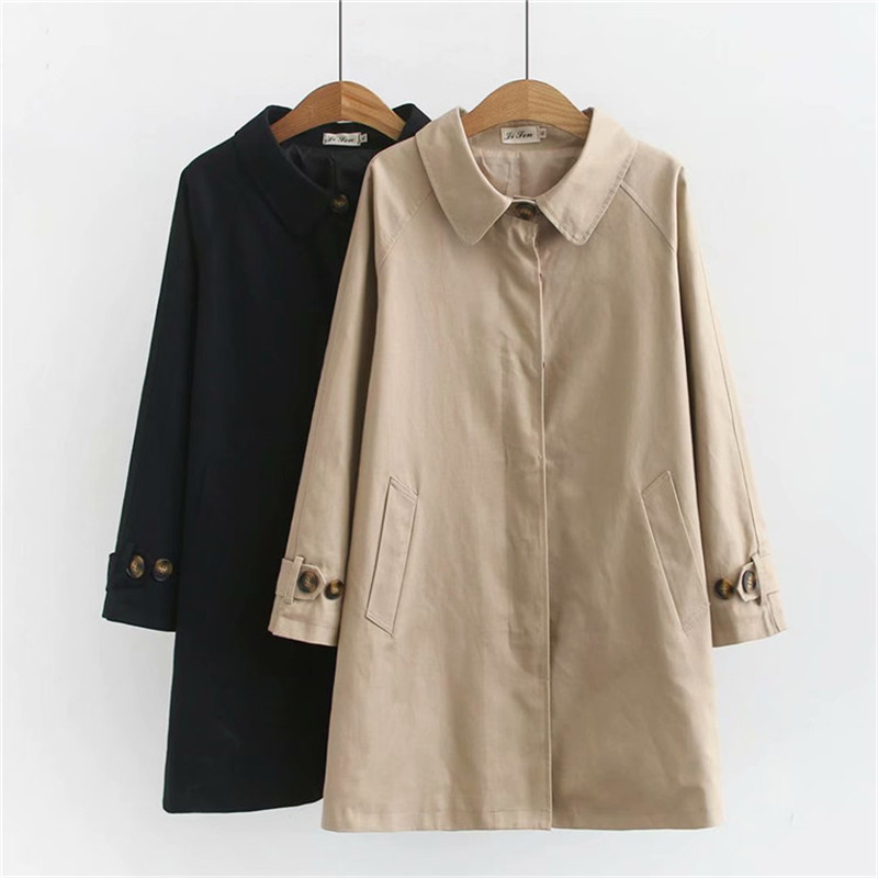 2020 Plus Size 4XL Women's Trench Coat Loose Outerwear Hide Button Windbreaker Female Casual Tops Solid Color Cotton Trench 3259
