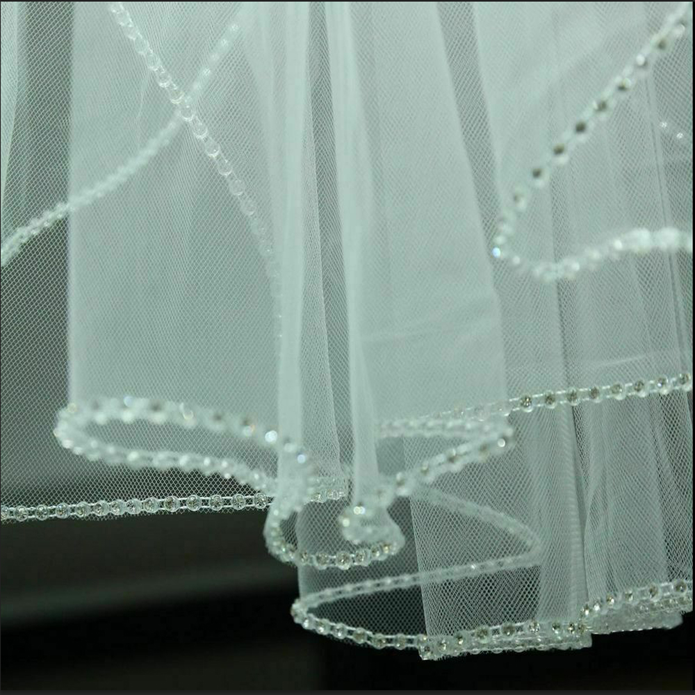New 1T White/ivory Wedding Veils Elbow Length Rhinestone Edge Bridal Veil With Comb