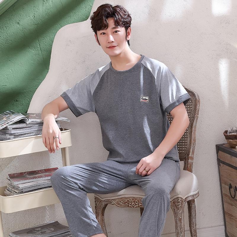 Men's Pajamas Set Summer Short-sleeve Tops + Long Pants 100% Cotton Nightwear Home Wear Suits Simple Fashion Sleepwear For Men