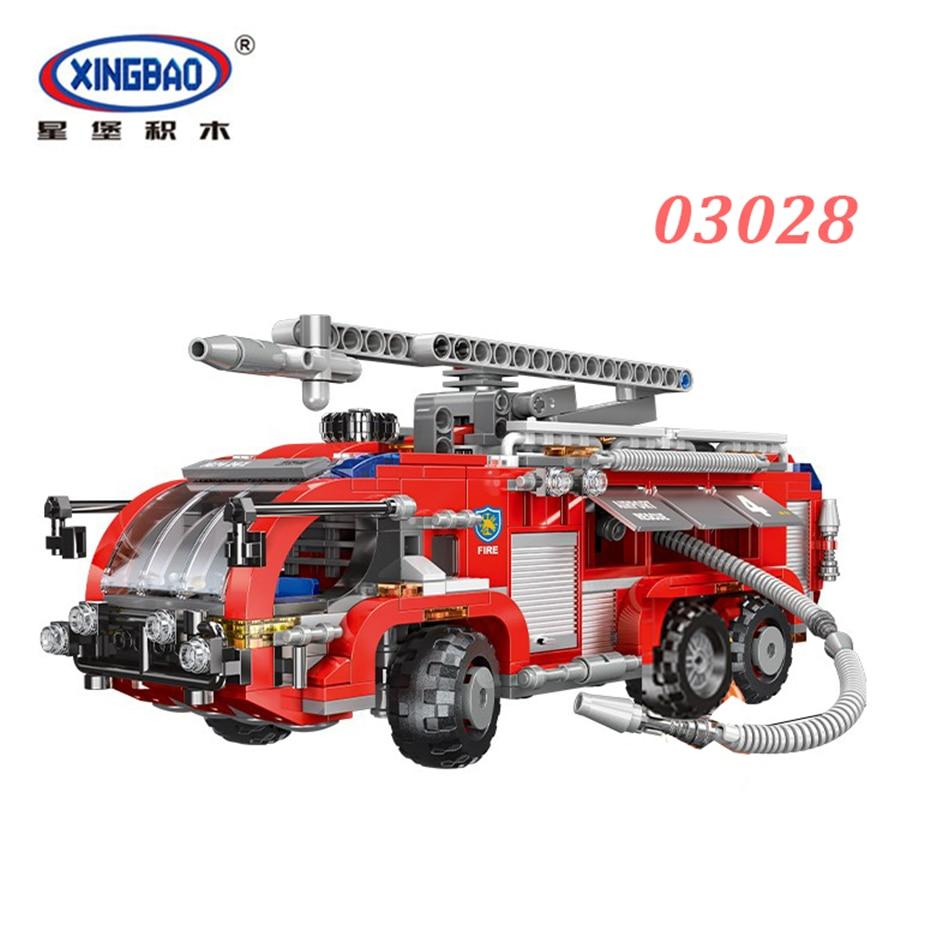 XINGBAO 03028 City Fire Fighting Series The Airport Truck Set Building Blocks Bricks Engine Vehicle Model Kids Toys