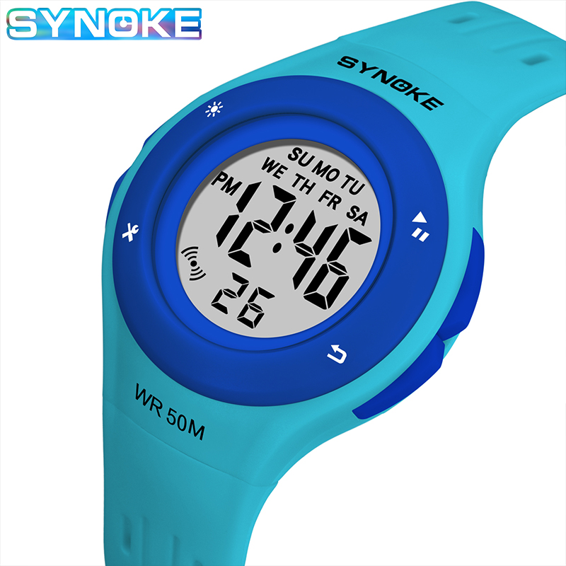 SYNOKE Children Kids Watch Boys Girls Digital Sports Watches 50M Waterproof Alarm Date Clock Student Select Gift For Kid 2019
