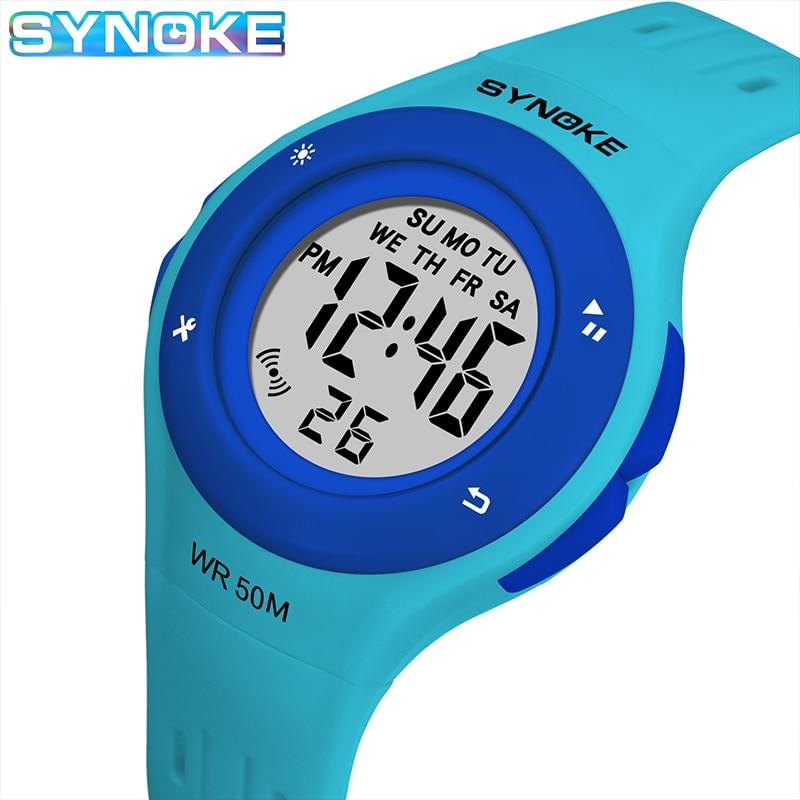 SYNOKE Children Kids Watch Boys Girls Digital Sports Watches 50M Waterproof Alarm Date Clock Student Select Gift For Kid 2019