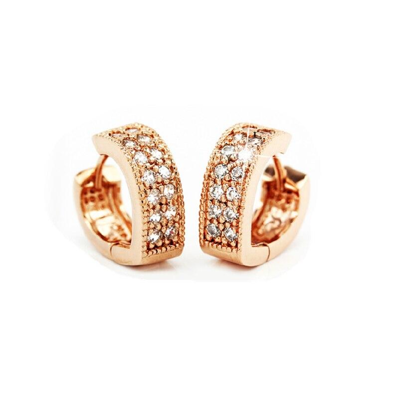 simple small Stud Earrings 925 Sterling Crystal Zircon Row Silver Huggie Earrings For Women wedding giftFemale Brincos oorbellen
