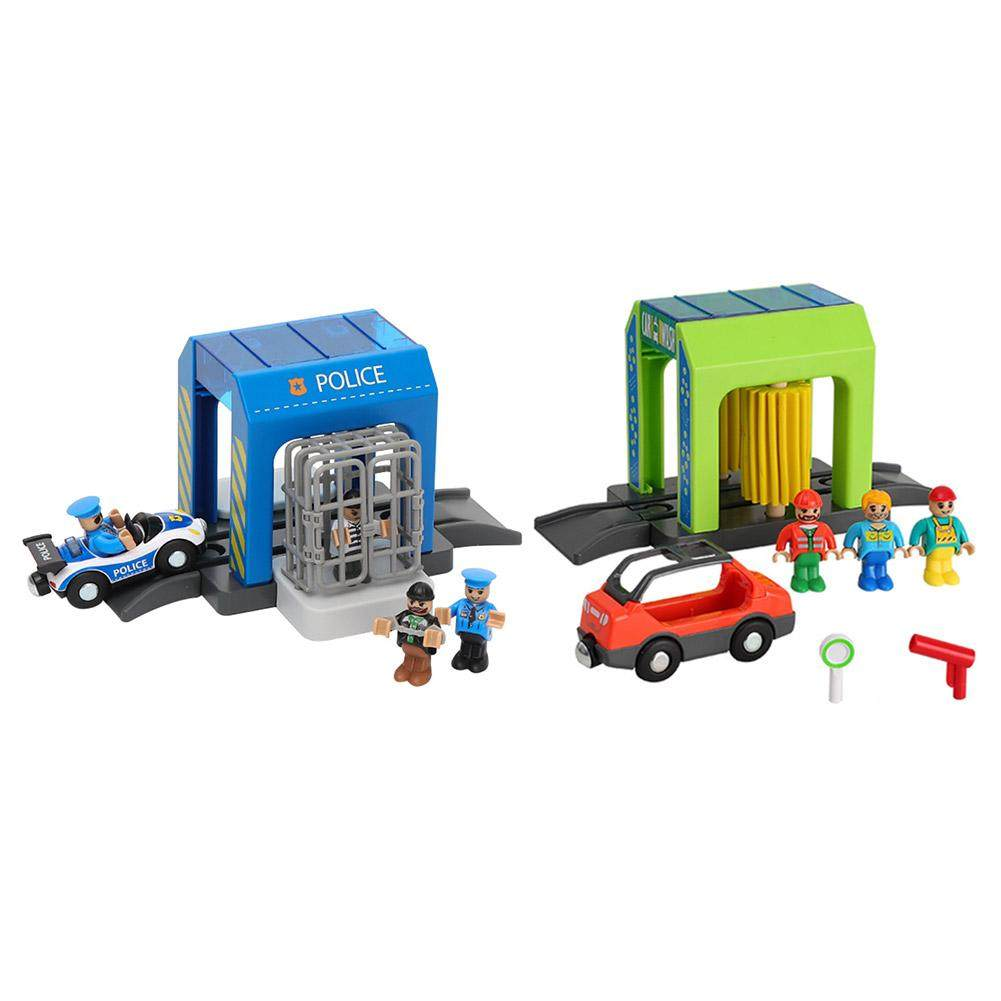Simulation Plastic Toy Set Police Station Car Wash Room Urban Scene Safe Children's Toy Set Compatible with Wooden Track