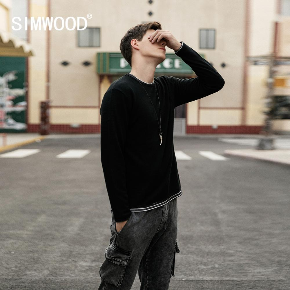 SIMWOOD 2019 Autumn Winter New  Double Layered Sweater Men Contrast Color Striped Knitted Pullovers Basic Quality Clothes 584