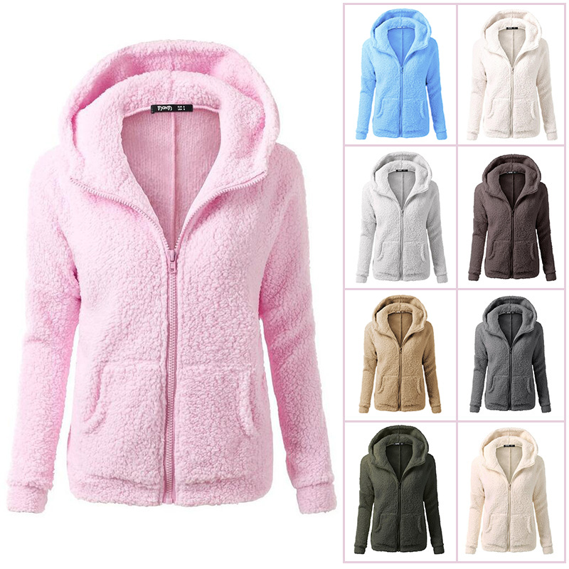 CHUQING Fashion Winter New Womens Plush Sweatshirt Autumn and Plus Velvet Thick Coat