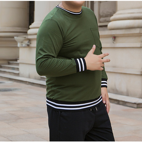 Image 3 - male oversized pocket t shirt mens military green cotton tshirts long sleeve striped T shirt korean streetwear soft pullover top