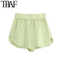 TRAF-Pantalones Cortos holgados con botones decorativos para mujer, pantalón corto Vintage de cintura alta elástica, a la moda