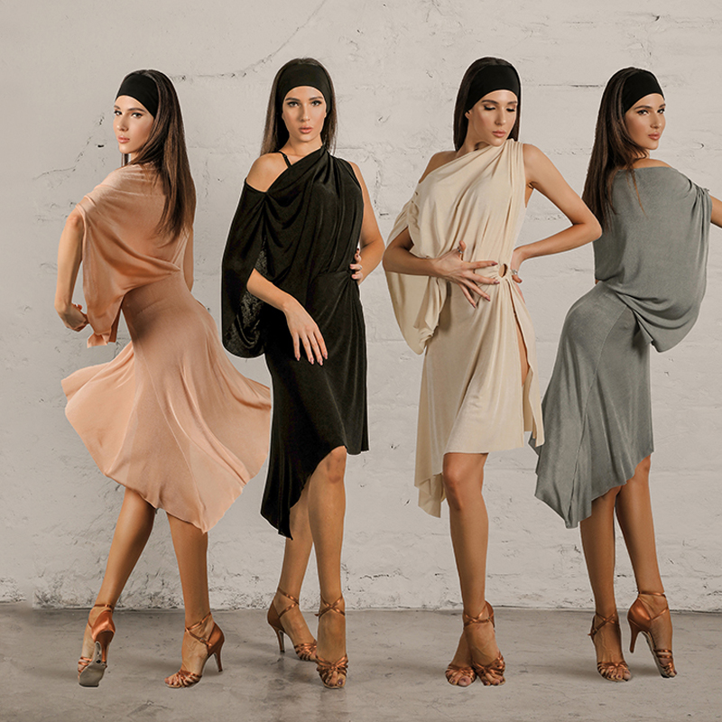 2020 Latin Dance Dress For Women Latin Dancewear Practice Clothes Adult Bat Sleeve Dress Latin Dance Competition Dress SL2394