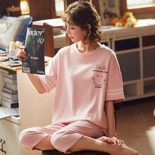Summer Cartoon Pajamas Set Women Sleepwear Nightwear Pijama